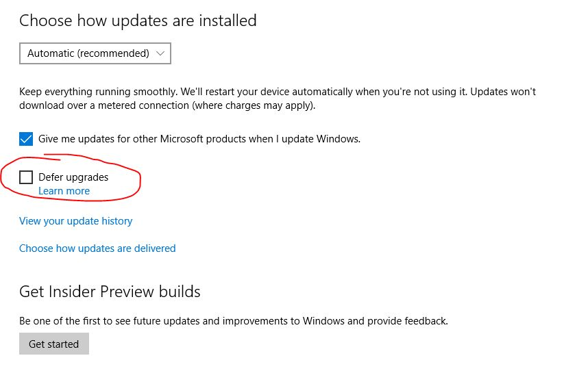 Update Windows 10 dengan Defer Upgrade